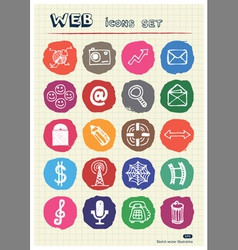 Business media and social network web icons set vector image vector image