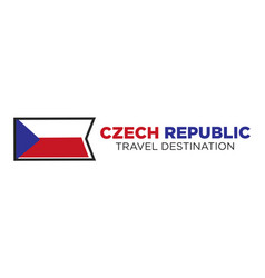 czech republic flag with travel destination words vector image vector image