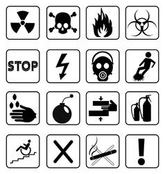 Danger signs icons set vector image vector image