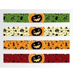 Four Halloween banners with Green red bright and vector image