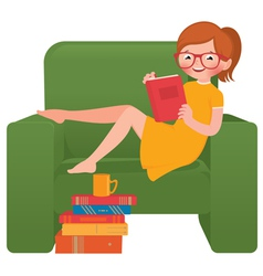 Girl reading a book sitting in a chair vector image vector image