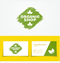 organic shop logo set vector image