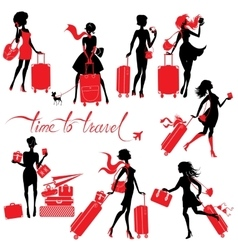 Set of young elegant woman silhouettes with vector image vector image