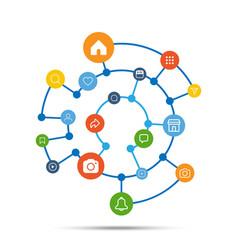 social media icon connection concept vector image vector image