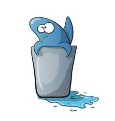 cute funny shark cartoon on water vector image