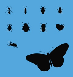 insects collection silhouette 2 vector image vector image