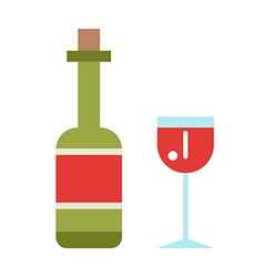 Wine icon set flat style isolated on white vector image