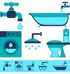 Plumbing equipment icons in flat design style vector image