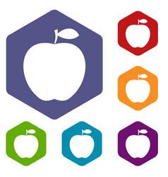apple icons set hexagon vector image vector image