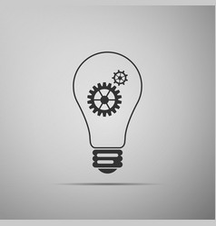 bulb with gears and cogs symbol idea concept vector image