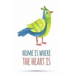 doodle watercolor bird vector image vector image