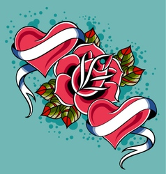 heart rose tattoo vector image vector image
