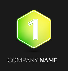 number one symbol on colorful hexagonal vector image