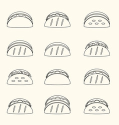 Set of outline tortilla tacos food icons set eps10 vector