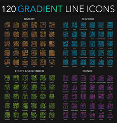 120 trendy color gradient complex thin line icons vector image