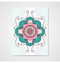 Abstract poster with floral ornament vector