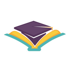 Academic hat and open book graduation symbol vector