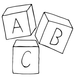 Alphabet bakwy cubes in doodle style coloring book vector