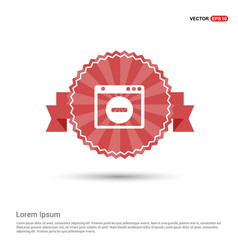 Application window interface icon - red ribbon vector