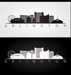 arlington texas - usa skyline and landmarks vector image
