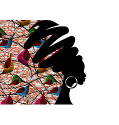 Banner portrait african woman in ethnic turban vector
