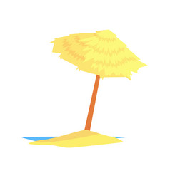 Beach straw umbrella cartoon vector