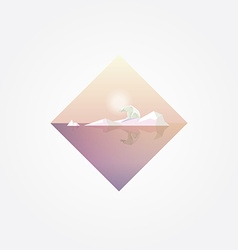 Beautiful geometric symbol with polar bear on a vector
