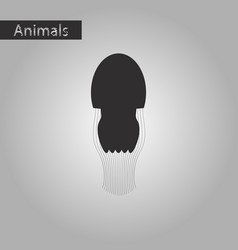 Black and white style icon of jellyfish vector