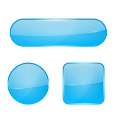 Blue glass buttons web 3d shiny icons vector