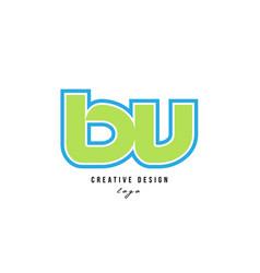 Blue green alphabet letter bv b v logo icon design vector