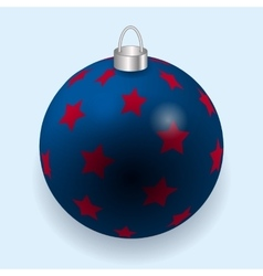 Blue stars with red Christmas ball reflecting vector image