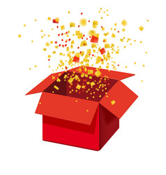 Box exploision blast open red gift box and vector