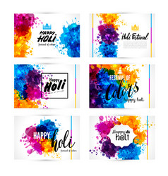Calligraphic header and banner set happy holi vector