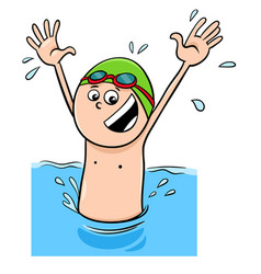 Cartoon boy character swimming in the water vector