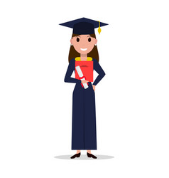 Cartoon student girl graduate vector