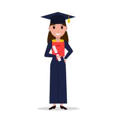 Cartoon student girl graduate vector