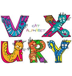 Cat alphabet r u v x y vector