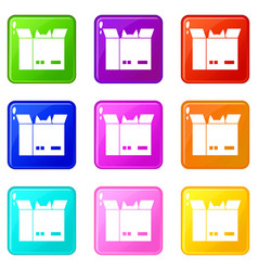 Cat in a cardboard box icons 9 set vector