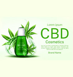 Cbd cosmetics bottle with water splash and leaves vector