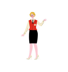 cheerful female hotel manager receptionist vector image