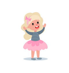 Cheerful little girl with long blond hair in puffy vector