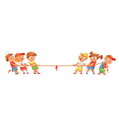 Children pull the rope kids playing tug of war vector