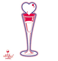 Classic 3d champagne goblet decorated with loving vector image