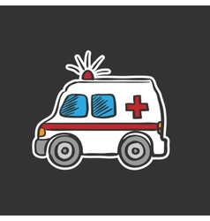 Colored ambulance doodle drawing vector image