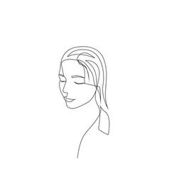 continuous one line woman face portrait vector image
