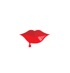 creative woman red lips logo vector image