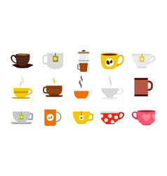 Cup icon set flat style vector