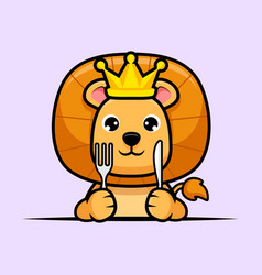 Cute lion king waiting for food design icon vector
