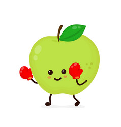 cute smiling strong apple fighting vector image