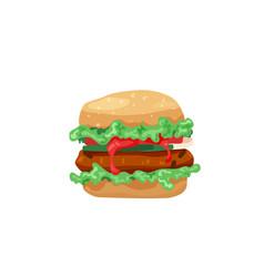 Delicious hamburger classic american burger with vector